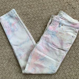 Free People Pastel Watercolor on White Skinny Jean